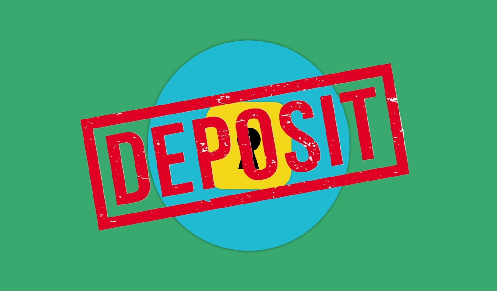 deposit graphic on green background
